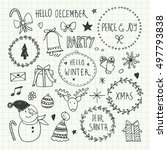 christmas doodles set | Shutterstock .eps vector #497793838