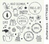christmas doodles set | Shutterstock .eps vector #497793838