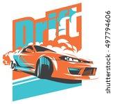 burnout car  japanese drift...   Shutterstock .eps vector #497794606
