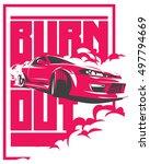burnout car  japanese drift... | Shutterstock .eps vector #497794669