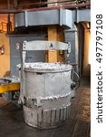 Small photo of Bucket with molten aluminum stands in aluminum plant