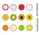 set of fruit icon flat design ... | Shutterstock .eps vector #497799658
