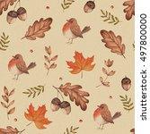 seamless seasonal autumn...   Shutterstock . vector #497800000