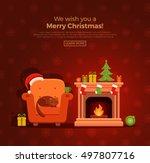 christmas fireplace room...   Shutterstock .eps vector #497807716