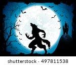 dark halloween background with... | Shutterstock . vector #497811538