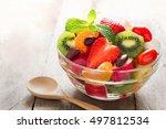 diet fresh tasty mix fruit... | Shutterstock . vector #497812534