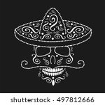 skull icon with sombrero and... | Shutterstock .eps vector #497812666