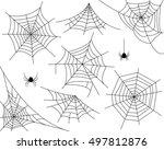 halloween monochrome spider web ... | Shutterstock .eps vector #497812876