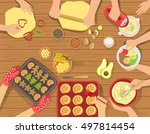 people cooking pastry and other ...   Shutterstock .eps vector #497814454