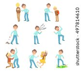 older boy bullying young... | Shutterstock .eps vector #497814610