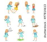 older girl bullying young... | Shutterstock .eps vector #497814613
