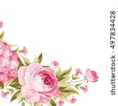 floral garland template. happy... | Shutterstock .eps vector #497834428
