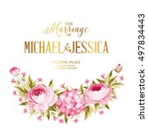 marriage invitation card. peony ... | Shutterstock .eps vector #497834443