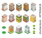 isometric city buildings set.... | Shutterstock .eps vector #497836618