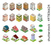 isometric city buildings set.... | Shutterstock .eps vector #497836624