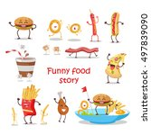 set of fast food products for... | Shutterstock .eps vector #497839090