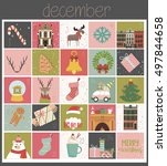 christmas calendar with... | Shutterstock .eps vector #497844658