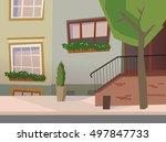 neat old town street vector.... | Shutterstock .eps vector #497847733