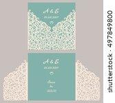 wedding invitation or greeting... | Shutterstock .eps vector #497849800