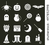 halloween flat icons set. black ... | Shutterstock .eps vector #497852998