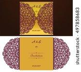 die cut wedding invitation card ... | Shutterstock .eps vector #497858683