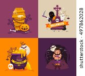 stock vector set halloween... | Shutterstock .eps vector #497862028