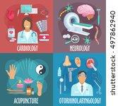 medicine flat icons of... | Shutterstock .eps vector #497862940