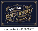 whiskey card with old frame | Shutterstock .eps vector #497863978