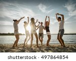 friends funny dance on the... | Shutterstock . vector #497864854
