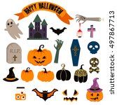 halloween vector clip art set.... | Shutterstock .eps vector #497867713