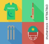 pakistan cricket icons flat... | Shutterstock .eps vector #497867863