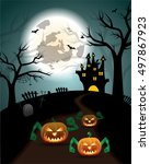 evil jack o lantern is going to ... | Shutterstock .eps vector #497867923