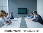 colleagues working together in... | Shutterstock . vector #497868910