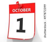 October 1. Calendar On White...