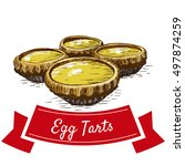 chinese egg tarts colorful... | Shutterstock .eps vector #497874259