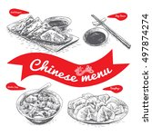 chinese menu illustration.... | Shutterstock .eps vector #497874274