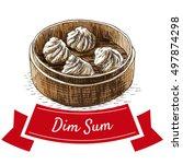 dim sum colorful illustration....   Shutterstock .eps vector #497874298