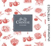 chinese cuisine colorful... | Shutterstock .eps vector #497874313