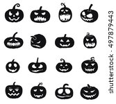 halloween pumpkin icons | Shutterstock .eps vector #497879443