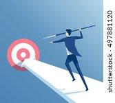 businessman running with a... | Shutterstock .eps vector #497881120
