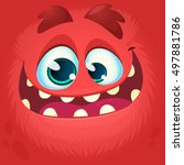 cartoon monster face. vector... | Shutterstock .eps vector #497881786