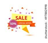 sale vector origami concept... | Shutterstock .eps vector #497882998
