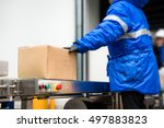 package boxes from conveyor...   Shutterstock . vector #497883823