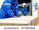 package boxes from conveyor...   Shutterstock . vector #497883868