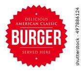 burger vintage label red vector | Shutterstock .eps vector #497886124