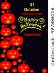 happy halloween holiday... | Shutterstock .eps vector #497886226