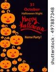 holiday flyer happy halloween ... | Shutterstock .eps vector #497887348