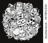 monochrome hand drawn... | Shutterstock .eps vector #497891554