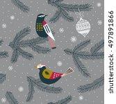 winter christmas seamless... | Shutterstock .eps vector #497891866