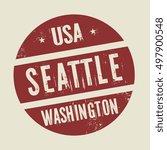 grunge vintage round stamp with ... | Shutterstock .eps vector #497900548